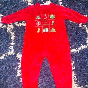 3/6mo red velvet drop seat pajamas